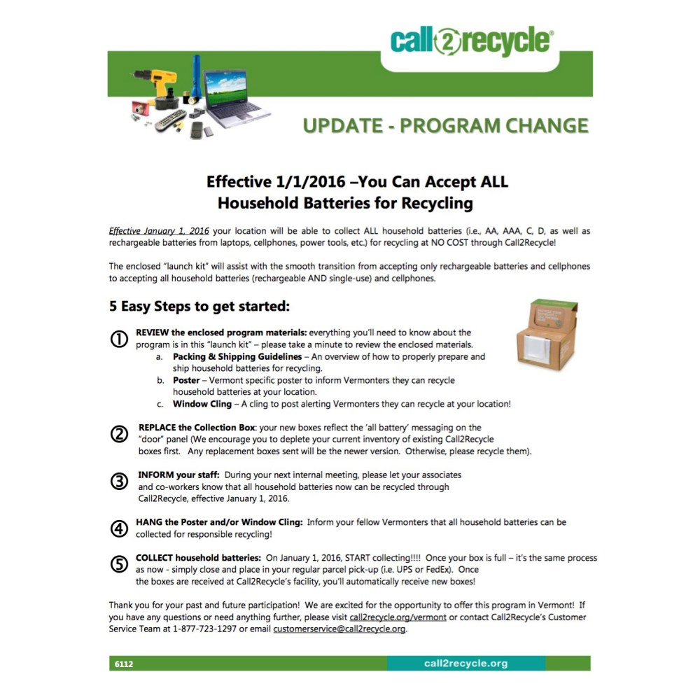 medium resolution of Vermont Collection Sites   Call2Recycle   United States