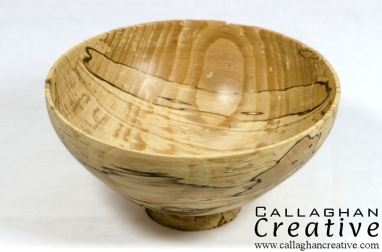 Wormed spalted beech bowl, 14cm dia, 7cm high