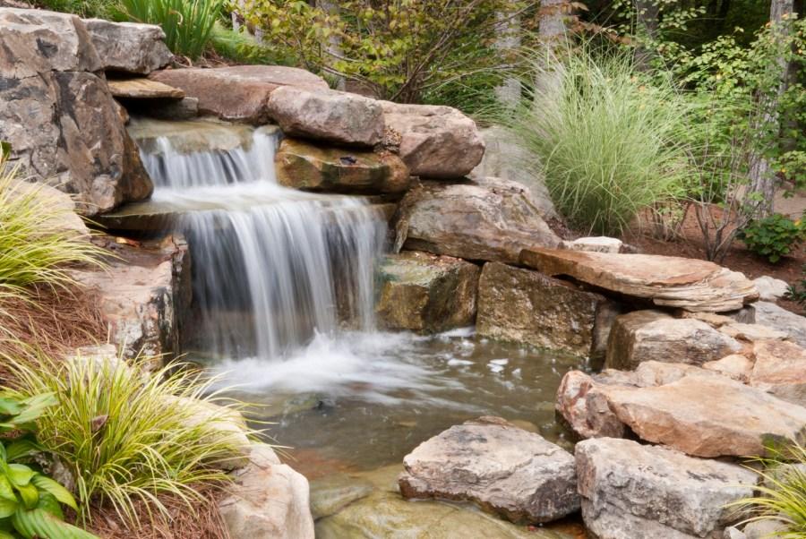 outdoor waterfalls landscape design hardscape ideas dalton ga chattanooga tn - Waterfall Landscape Design Ideas