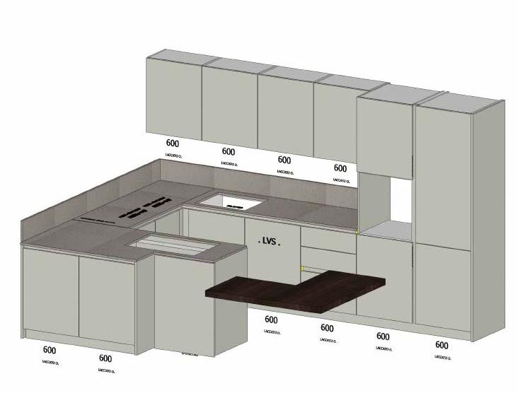 Progetto Cucina 3d OD48  Pineglen