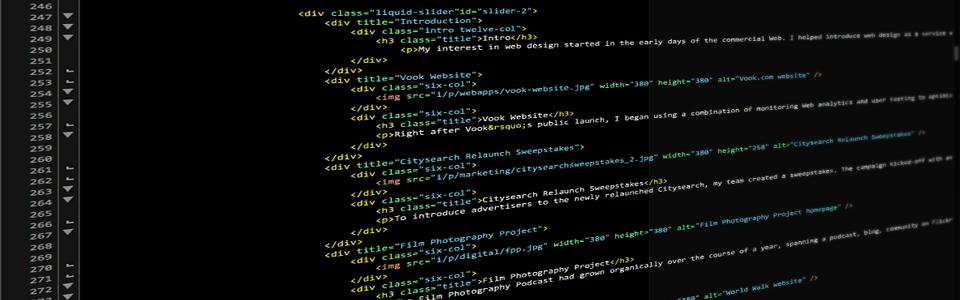 Photo of website code