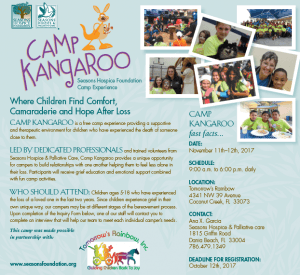 Seasons Hospice Camp Kangaroo 300x275 - Grief Camp for Kids With Pet Therapy