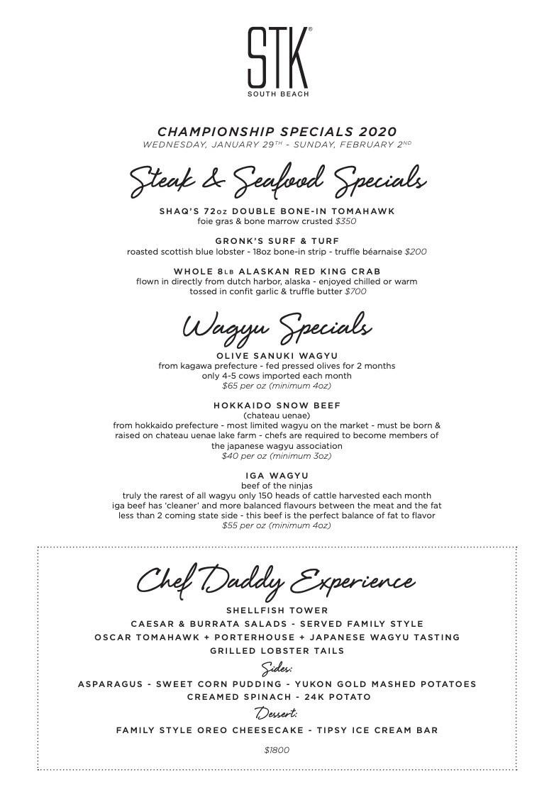 stk steak house menu - STK Steakhouse is Super Bowl ready
