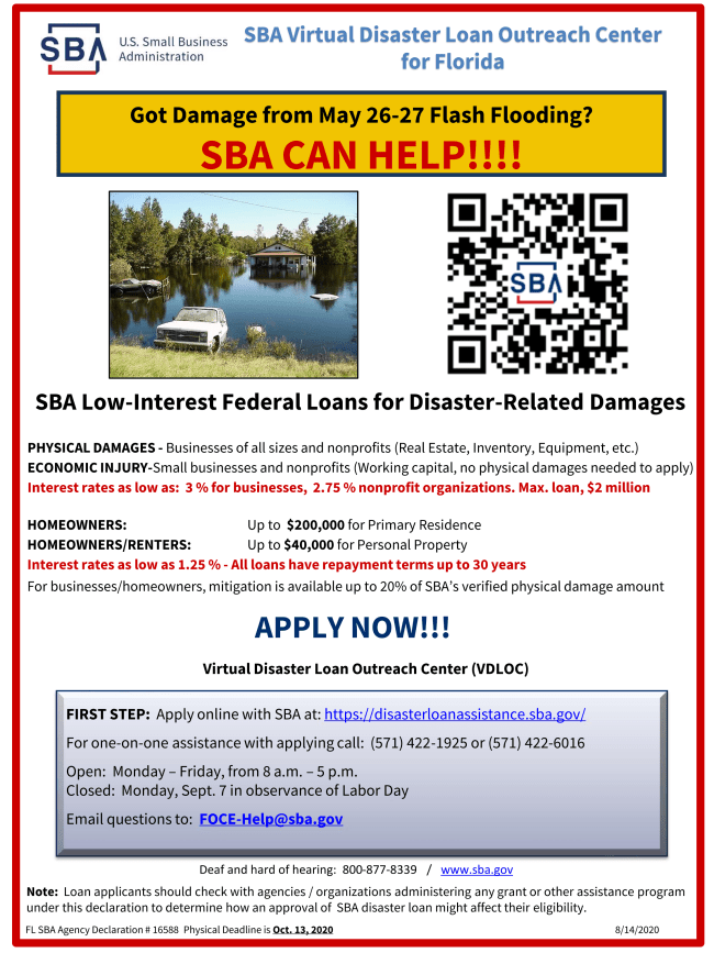SBA FLASH FLOOD - Low-interest loans to provode aid after flash flooding in  May