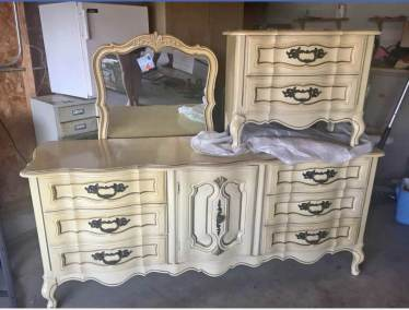 French Provincial Dressor-Mirror With NIghtstand