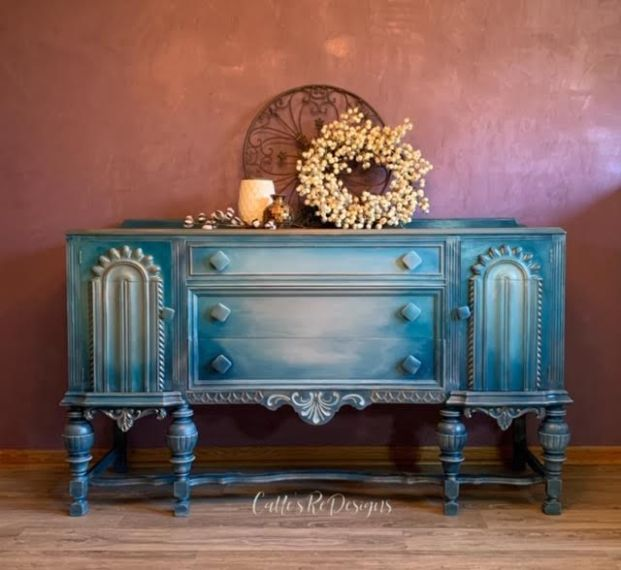 1930's Jacobean Style. I have redesigned this beautiful piece with a bohemian vibe in blended blues, grays, and metallics.