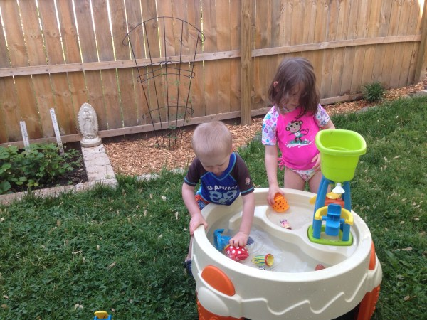 One day it was warm enough for water play...