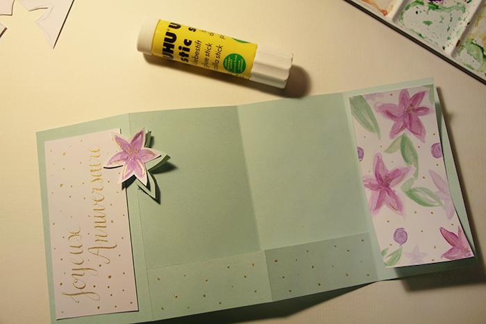 Calligraphique - Carte pliée fleurie - colle