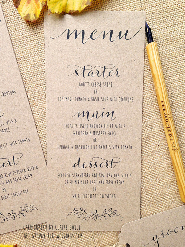 Kraft And Calligraphy Wedding Invitations From 2 By