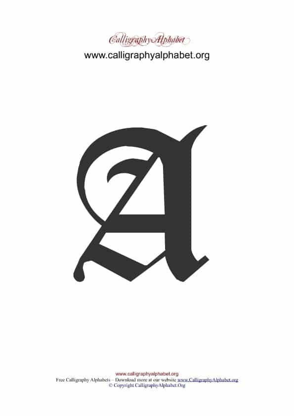 Old English Calligraphy Alphabets A-Z