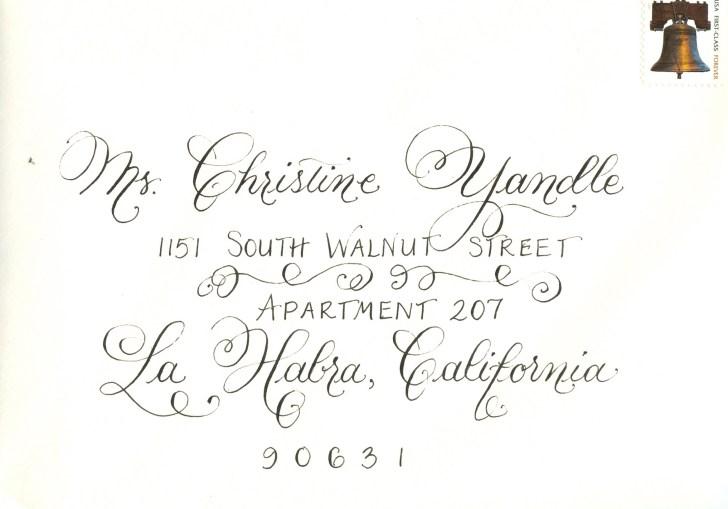 Calligraphy For Wedding Envelopes