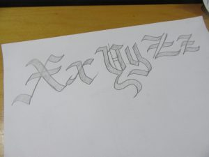 Gothic Blackletter Calligraphy Alphabet letter examples X-Z