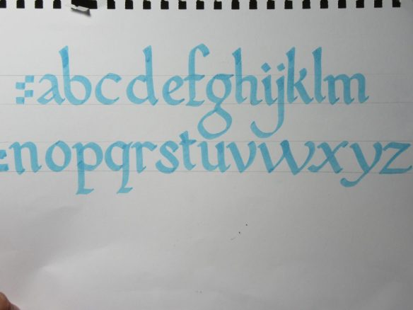 Foundational blackletter calligraphy lowercase alphabet example