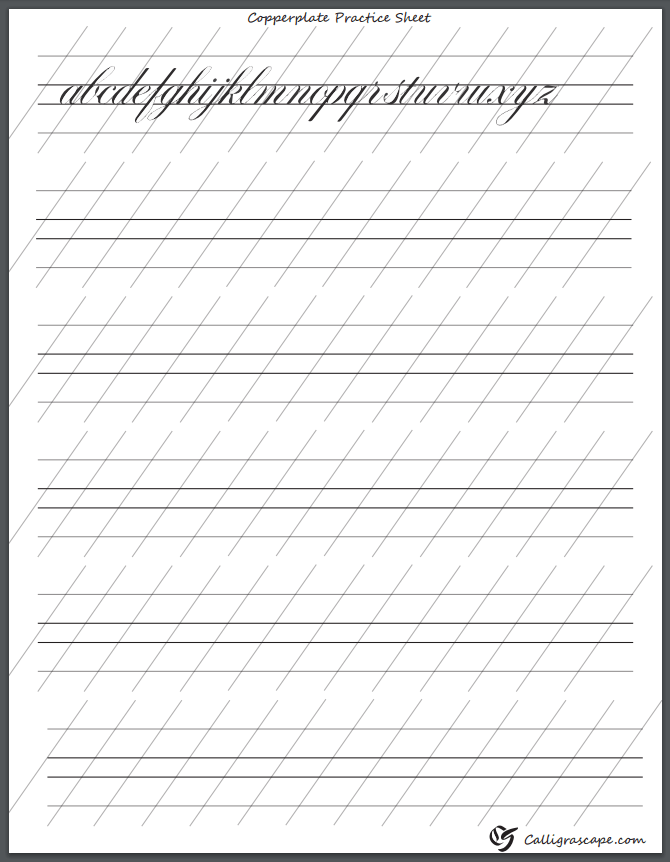 graphic regarding Copperplate Calligraphy Alphabet Printable named 4 Absolutely free Printable Calligraphy Prepare Sheets (PDF Obtain)