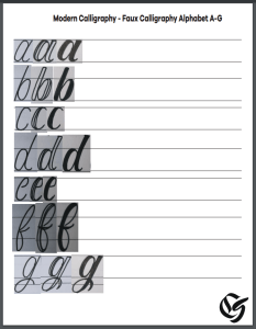 Faux Calligraphy Practice Sheet