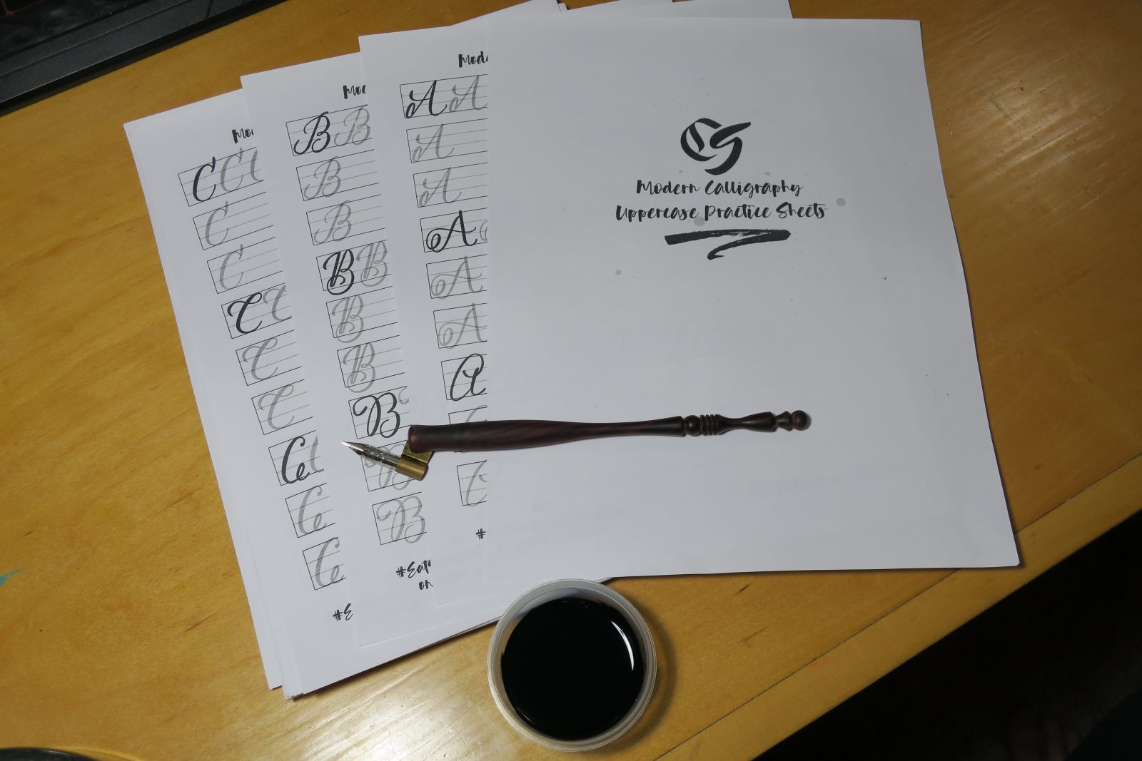 Modern Calligraphy Uppercase Practice Sheets