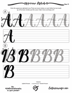 Master Class modern Brush Calligraphy Practice Sheets page 13