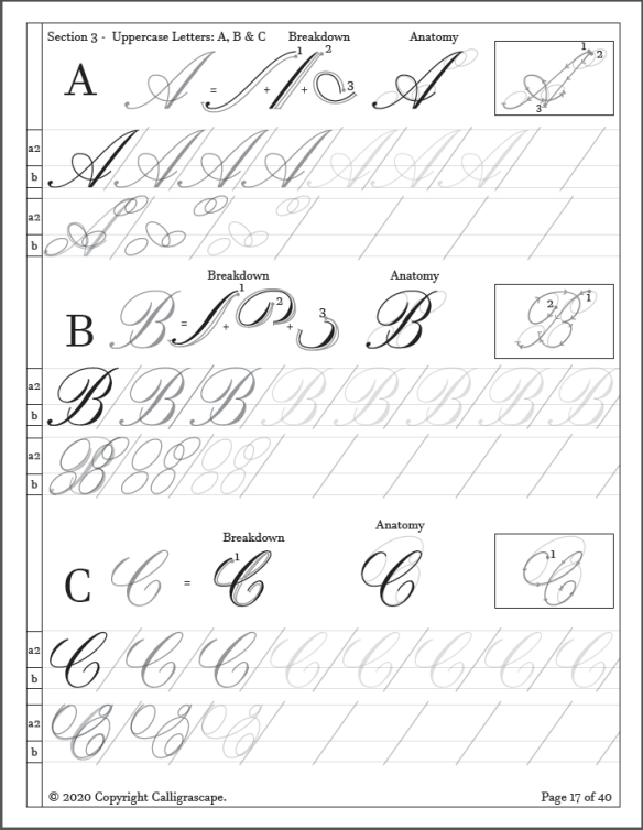 Copperplate Calligraphy Practice Sheet Set Product Page 17