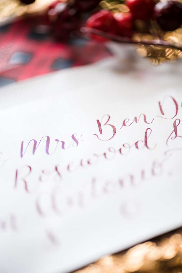 American Themed Modern Calligraphy Envelopes - Left Alligned by CalliRosa Calligrapher in San Antonio Texas - champagne envelope with blue and red lettering