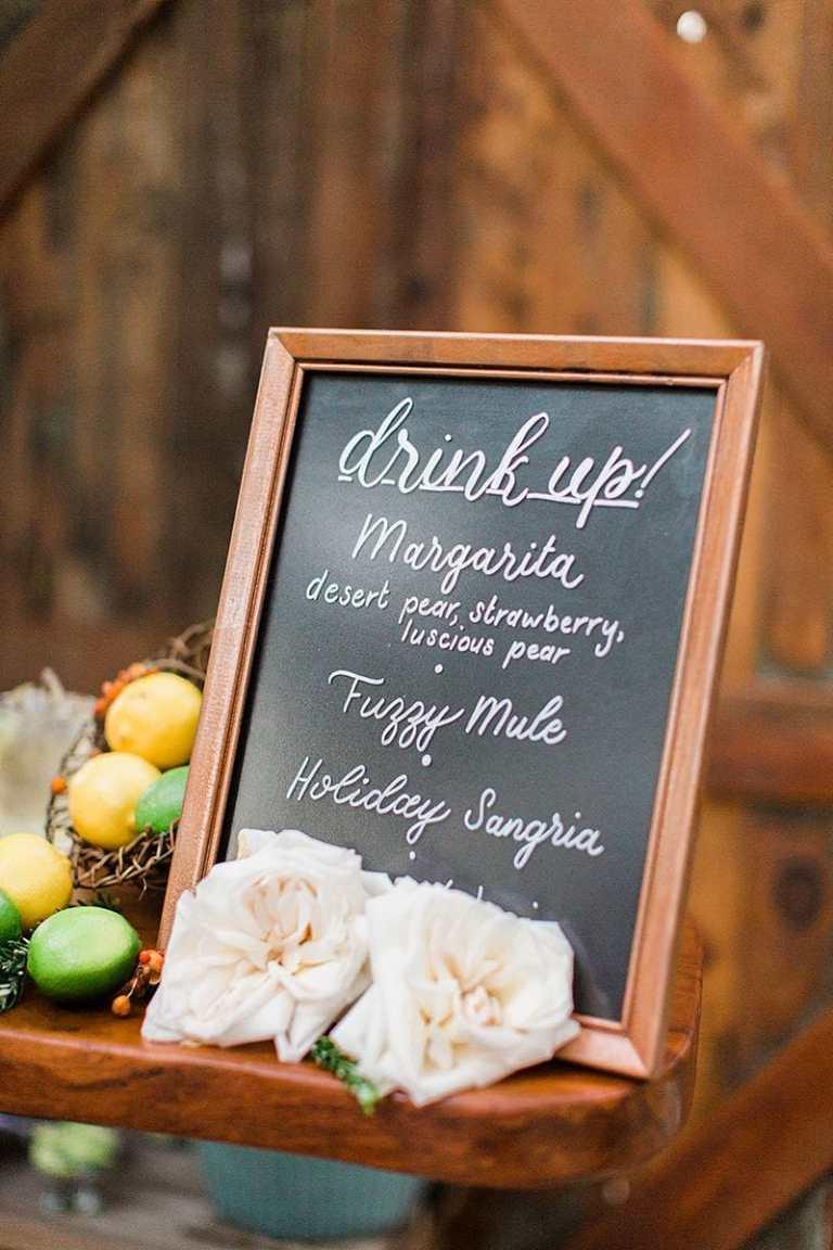 Drink Menu Barmenu Table Sign Chalkboard Copper by CalliRosa Calligrapher in San Antonio Texas