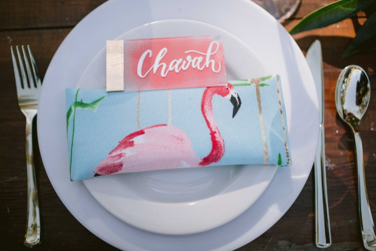 Flamingo Acrylic Coral Gold White Placecard at San Antonio Zoo by CalliRosa Calligrapher in San Antonio Texas