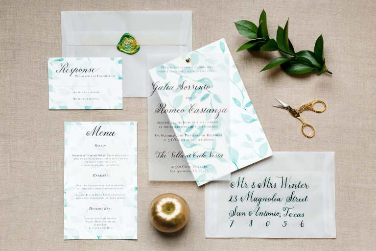 Greenery Modern Invitation with Vellum Details Overlay and dark green emerald calligraphy at Villa at Cielo Vista by Callirosa Custom Wedding Invitation in San Antonio Texas