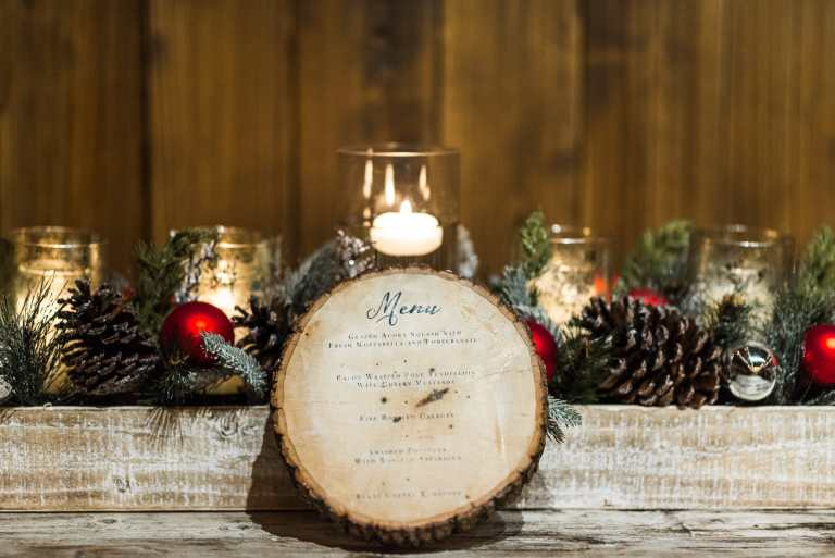 Menu on Wood Slice Disc at The Allen Farmhouse by CalliRosa Calligraphy Calligrapher Custom Wedding Invitations in San Antonio Texas