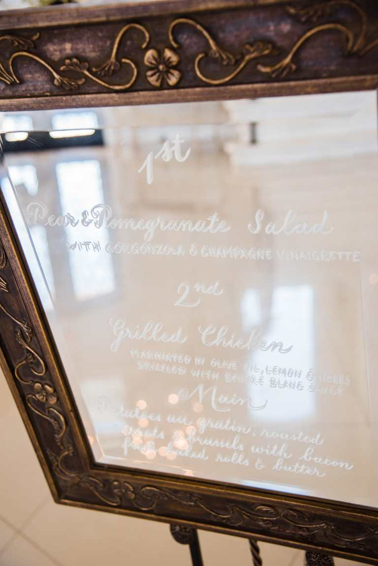 Mirror Menu Sign with White Calligraphy by CalliRosa Calligrapher in San Antonio Texas