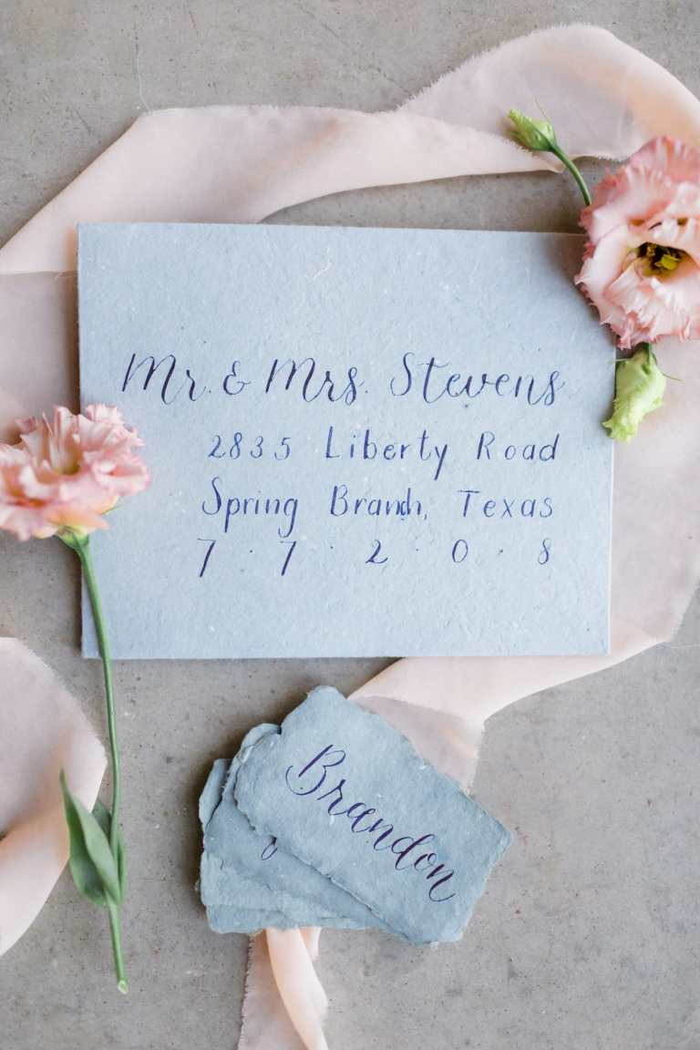Modern Calligraphy Envelopes by CalliRosa Calligrapher in San Antonio Texas - blue handmade envelope with dark blue lettering