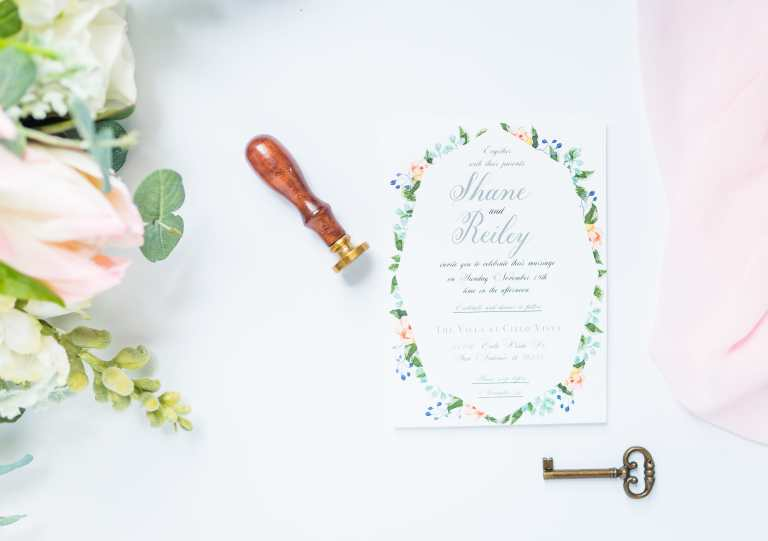 Modern floral geometric Invitation with grey calligraphy at The Villa at Cielo Vista by CalliRosa custom wedding invitations in San Antonio Texas