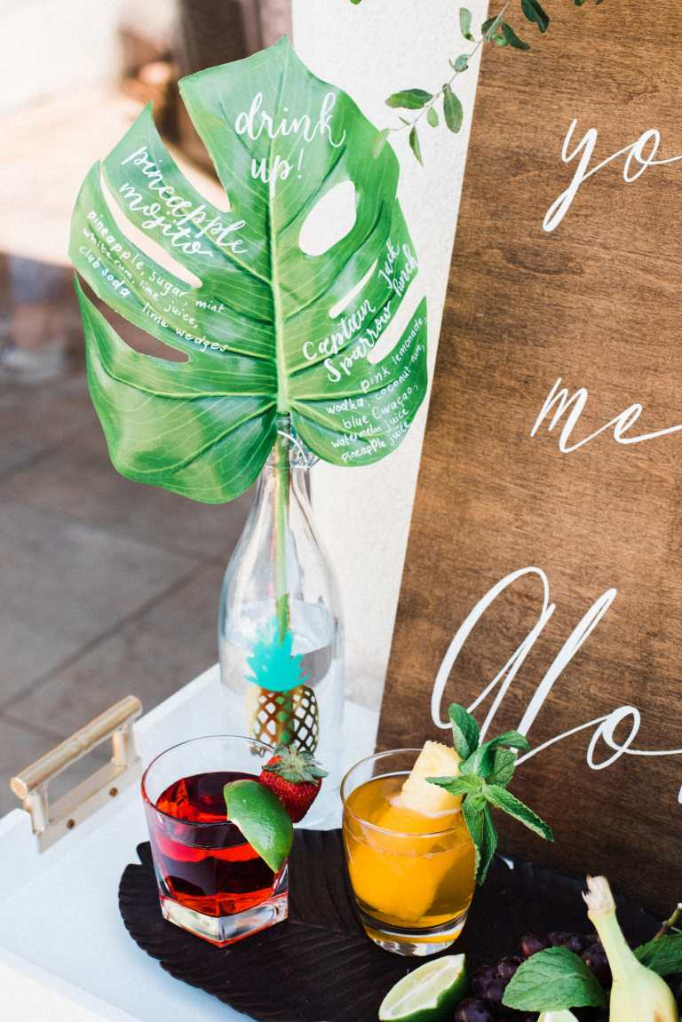 Pineapple Tropical Monstera Leaf Bar Menu Drinks with White Calligraphy by CalliRosa Calligrapher in San Antonio Texas