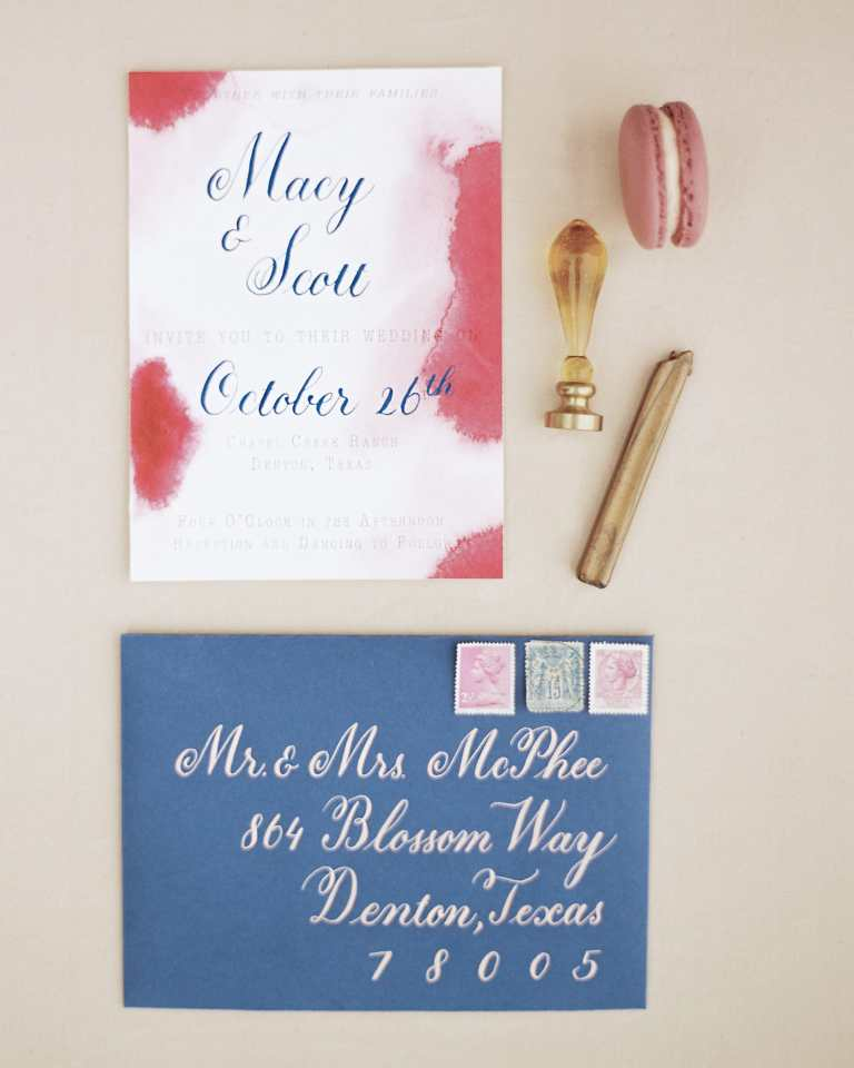 Pink Blush Red Burgundy Watercolor Invitation with Navy Blue Calligraphy by CalliRosa Custom wedding invitations in San Antonio Texas