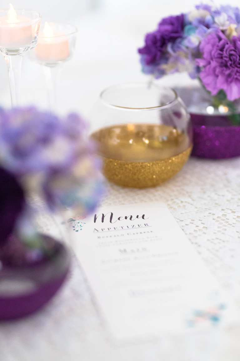 Purple Floral Menu by CalliRosa Calligraphy Calligrapher and Custom Invitations in San Antonio