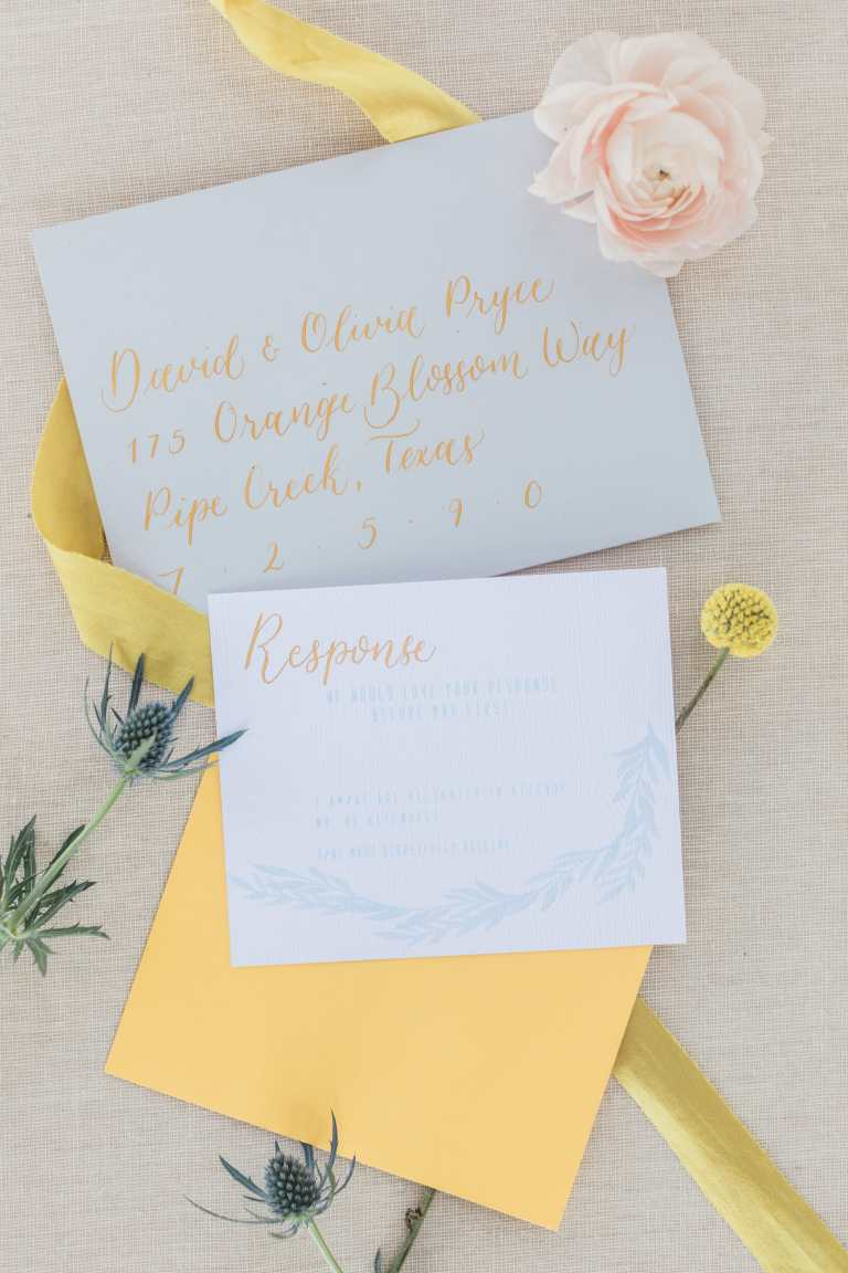 Sky Blue Modern floral geometric Invitation with yellow calligraphy at The Green Valley Getaway by CalliRosa custom wedding invitations in San Antonio Texas