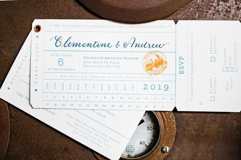 Vintage Train 1920s Twenties Inspired Invitation at Galveston Railroad Museum by CalliRosa custom wedding invitations in San Antonio Texas