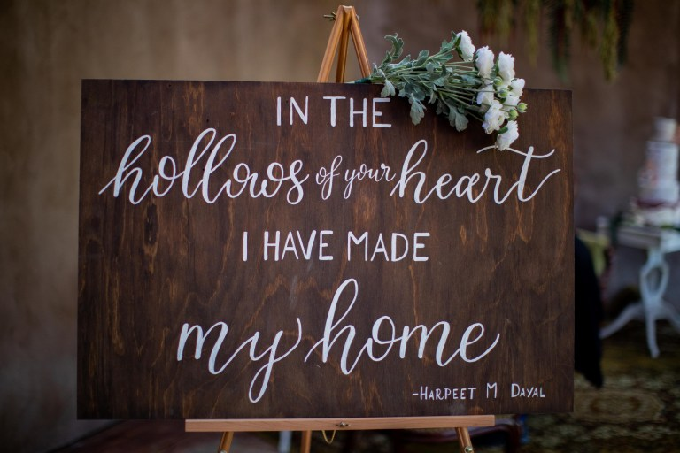 Wooden Romantic Quote Home Sign at San Antonio Zoo by CalliRosa Calligrapher in San Antonio Texas
