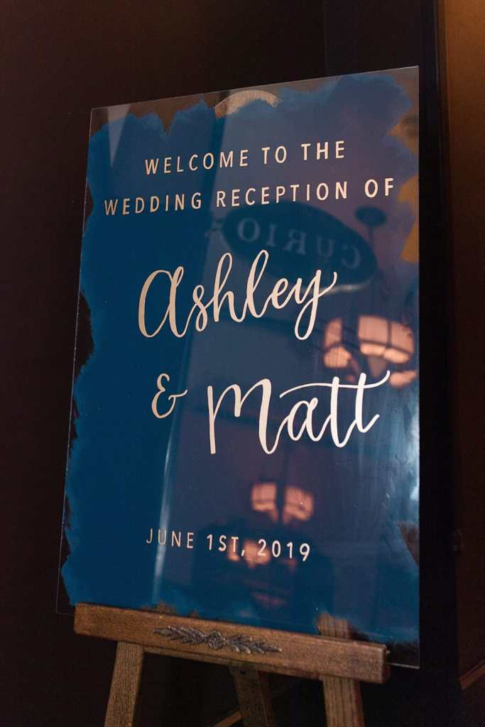 Wedding At The Hotel Emma - Acrylic Signs at Ashley & Matt's Navy And Hot Pink Industrial Reception