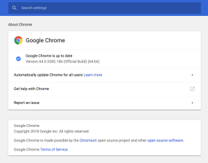 google chrome settings window