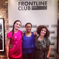 LONDON: Katherine, Naome and Malika after a screening at the Frontline Club in London, November 2012