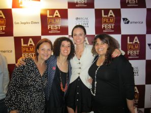 LOS ANGELES: Malika & Katherine celebrate CALL ME KUCHU's US premiere at the Los Angeles Film Festival with Yana Gorskaya, consulting editor, and Judith Helfand, founder of Chicken & Egg Pictures, one of the film's funders. June 2012