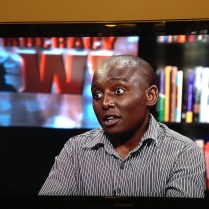 NEW YORK: Victor Mukasa, another activist featured in the film, awaits his interview with Amy Goodman at the Democracy Now! studios ahead of the June 2013 theatrical opening.