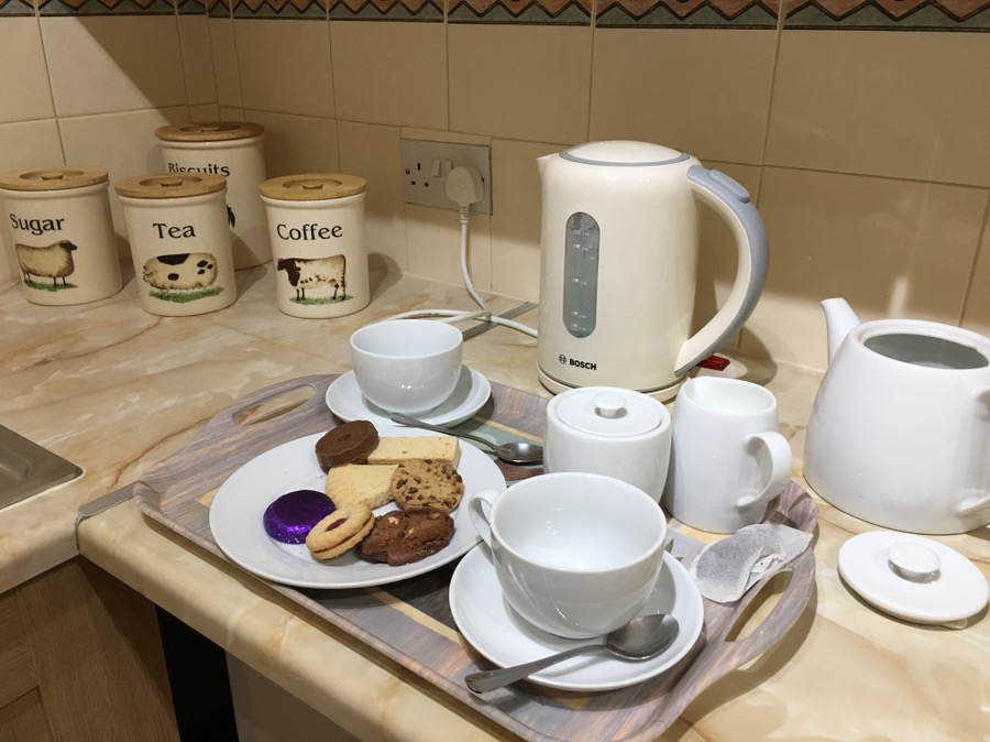 tea and biscuits greeting us