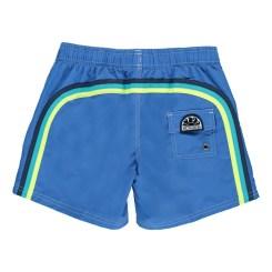 Short de bain uni bande tricolore bleu, Sundek, 75 euros