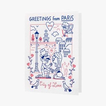 Carte illustrée City Of Love, Letterpress De Paris, 4,50 euros