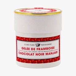 Gelée de framboise, chocolat noir Manjari, 15,80 euros, Confiture Parisienne
