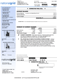 National Grid electricity & gas bill example in New York State