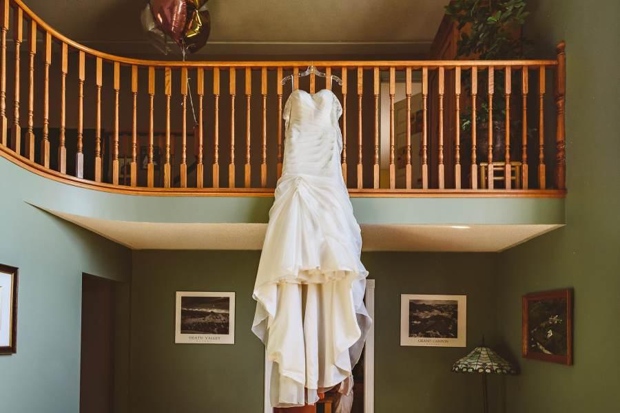 dress hanging at backyard niagara wedding