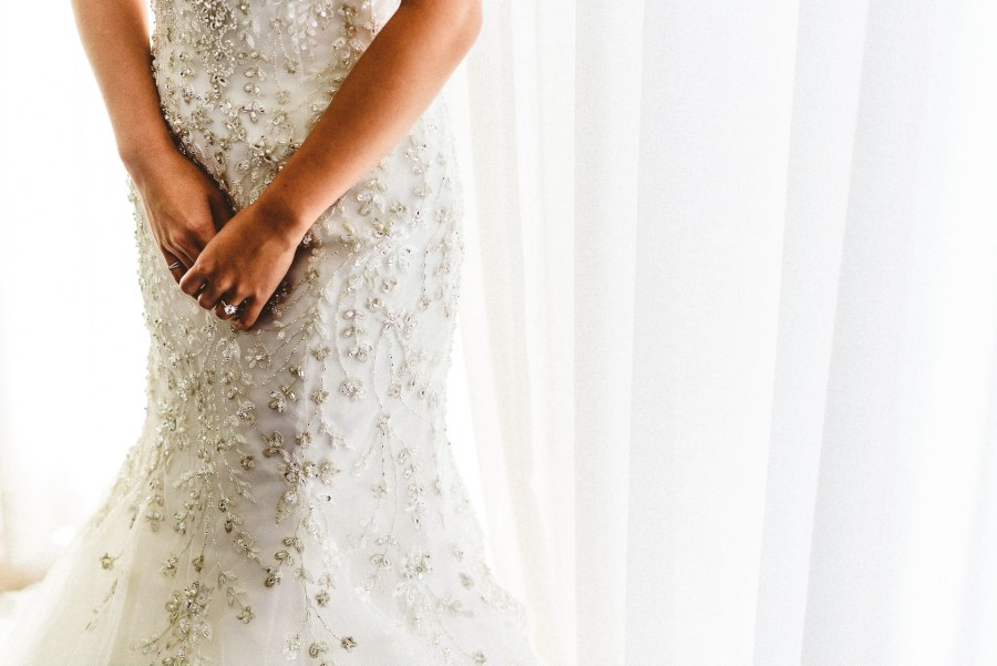 Bride's ring and dress
