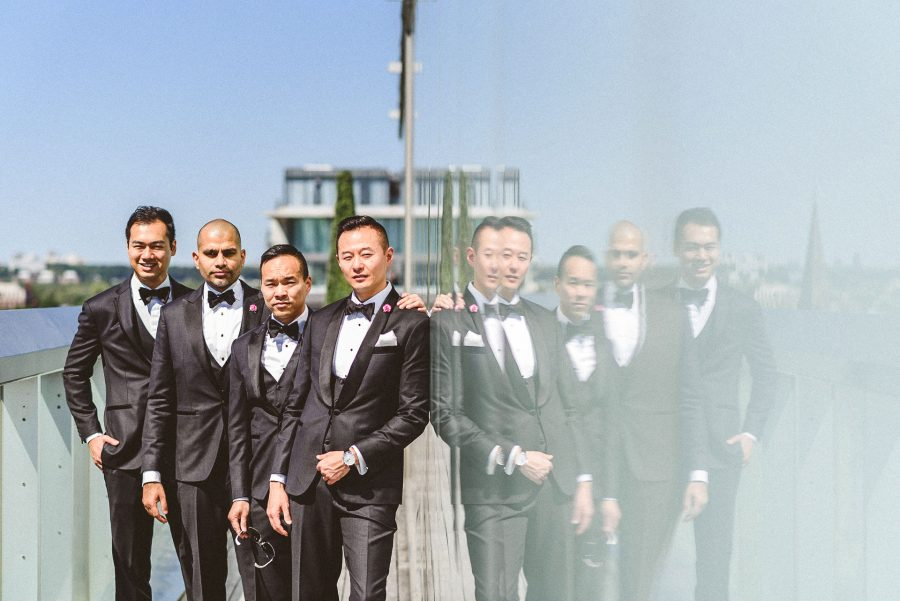 Groom and groomsmen at Thompson Hotel Wedding