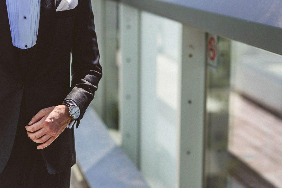 detail shot of grooms watch